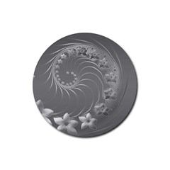 Gray Abstract Flowers Drink Coasters 4 Pack (Round)