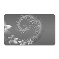 Gray Abstract Flowers Magnet (rectangular)