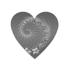 Gray Abstract Flowers Magnet (heart)