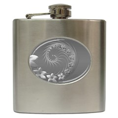 Gray Abstract Flowers Hip Flask