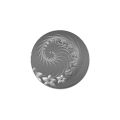 Gray Abstract Flowers Golf Ball Marker