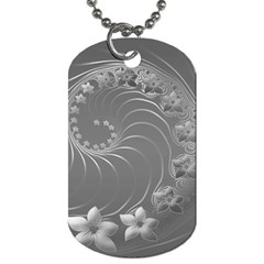 Gray Abstract Flowers Dog Tag (Two Sided)