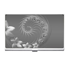 Gray Abstract Flowers Business Card Holder