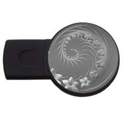 Gray Abstract Flowers 1GB USB Flash Drive (Round)