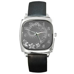 Gray Abstract Flowers Square Leather Watch