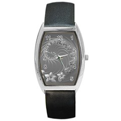 Gray Abstract Flowers Tonneau Leather Watch