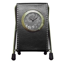 Gray Abstract Flowers Stationery Holder Clock