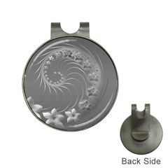 Gray Abstract Flowers Hat Clip with Golf Ball Marker