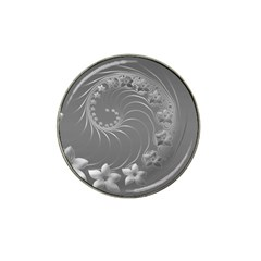 Gray Abstract Flowers Golf Ball Marker (for Hat Clip)