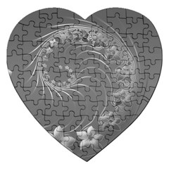 Gray Abstract Flowers Jigsaw Puzzle (heart)