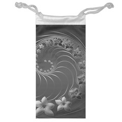 Gray Abstract Flowers Jewelry Bag