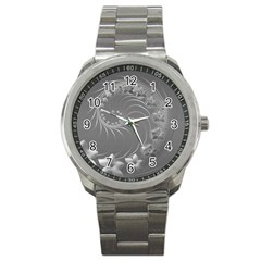 Gray Abstract Flowers Sport Metal Watch