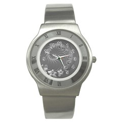 Gray Abstract Flowers Stainless Steel Watch (Unisex)