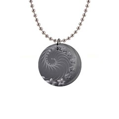 Gray Abstract Flowers Button Necklace