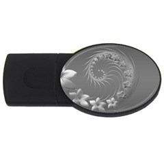 Gray Abstract Flowers 4gb Usb Flash Drive (oval)