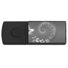 Gray Abstract Flowers 4GB USB Flash Drive (Rectangle)