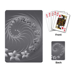 Gray Abstract Flowers Playing Cards Single Design