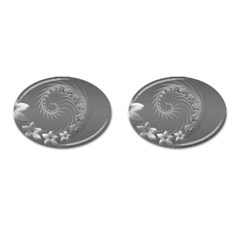 Gray Abstract Flowers Cufflinks (Oval)