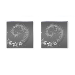 Gray Abstract Flowers Cufflinks (Square)