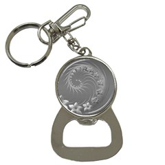 Gray Abstract Flowers Bottle Opener Key Chain