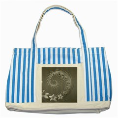 Gray Abstract Flowers Blue Striped Tote Bag