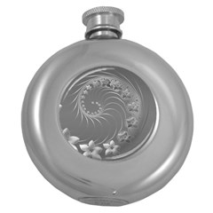 Gray Abstract Flowers Hip Flask (Round)