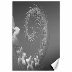 Gray Abstract Flowers Canvas 12  x 18  (Unframed)