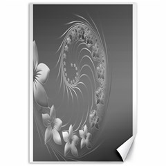 Gray Abstract Flowers Canvas 24  X 36  (unframed)