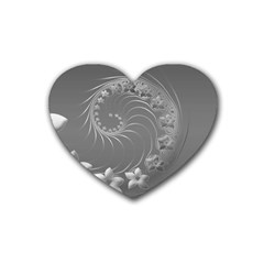 Gray Abstract Flowers Drink Coasters 4 Pack (heart)