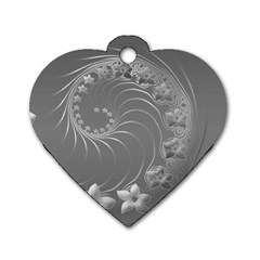 Gray Abstract Flowers Dog Tag Heart (Two Sided)