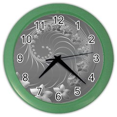 Gray Abstract Flowers Wall Clock (Color)