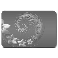 Gray Abstract Flowers Large Door Mat