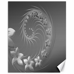 Gray Abstract Flowers Canvas 11  X 14  9 (unframed)