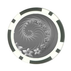 Gray Abstract Flowers Poker Chip
