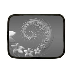 Gray Abstract Flowers Netbook Case (Small)