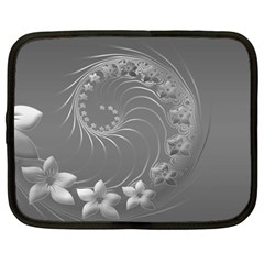 Gray Abstract Flowers Netbook Case (Large)