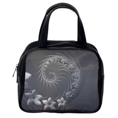 Gray Abstract Flowers Classic Handbag (One Side)