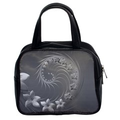 Gray Abstract Flowers Classic Handbag (two Sides)