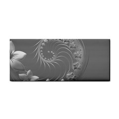 Gray Abstract Flowers Hand Towel