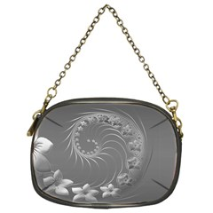 Gray Abstract Flowers Chain Purse (One Side)