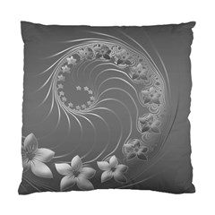 Gray Abstract Flowers Cushion Case (Two Sides)