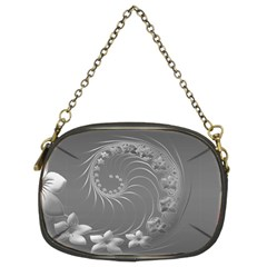 Gray Abstract Flowers Chain Purse (Two Side)
