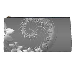 Gray Abstract Flowers Pencil Case