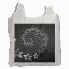 Gray Abstract Flowers Recycle Bag (Two Sides)