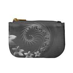 Gray Abstract Flowers Coin Change Purse