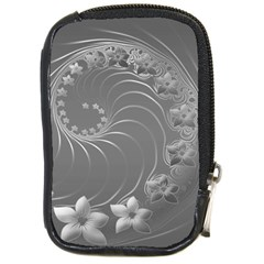 Gray Abstract Flowers Compact Camera Leather Case