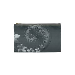 Gray Abstract Flowers Cosmetic Bag (small)