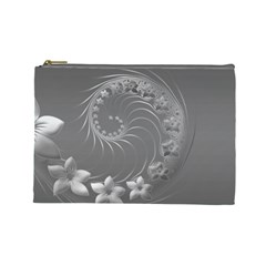 Gray Abstract Flowers Cosmetic Bag (large)
