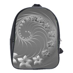 Gray Abstract Flowers School Bag (Large)