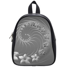 Gray Abstract Flowers School Bag (small)
